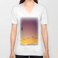 ballon V-neck T-shirts featuring Ballon Sunset by JDHicks