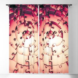 Metal Puzzle RETRO RED / 3D render of metallic circular puzzle pieces Blackout Curtain