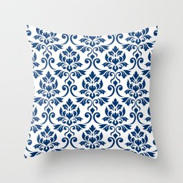 Feuille Damask Pattern Dark Blue on White Throw Pillow