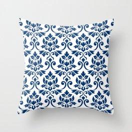 Feuille Damask Pattern Dark Blue on White Throw Pillow