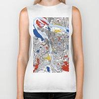 portland Biker Tanks featuring Portland map by Mondrian Maps