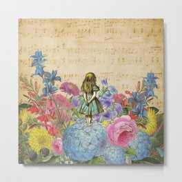Wonderland Magical Garden - Alice In Wonderland Metal Print
