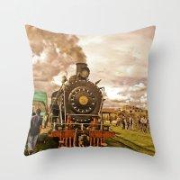 train Throw Pillows featuring Train by Alejandra Triana Muñoz (Alejandra Sweet