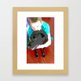boy and dog Framed Art Print