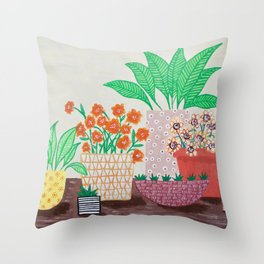 Plants in Printed Pots Throw Pillow