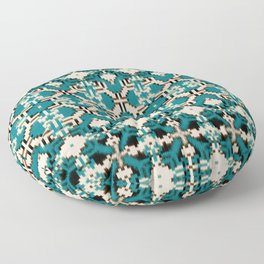 ikat geo mix patched in teal Floor Pillow