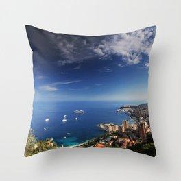 Monaco, French riviera, Sea side, Coastline, Riviera, holiday Throw Pillow