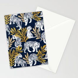 Nouveau white tigers // navy blue background yellow leaves silver lines white animals Stationery Cards