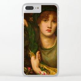 "Dante Gabriel Rossetti ""My Lady Greensleeves"" Clear iPhone Case"