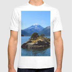 Lanin volcano. Patagonia MEDIUM Mens Fitted Tee White