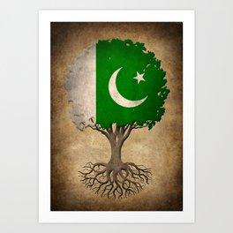Vintage Tree of Life with Flag of Pakistan Art Print