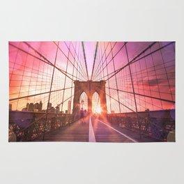 New York City Brooklyn Bridge Sunset Rug