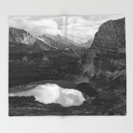 Grinnell Lake from the Trail No. 2 bw Throw Blanket