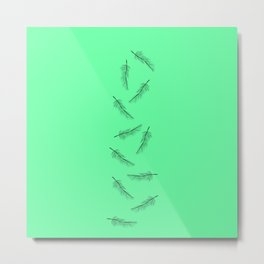 Simple Neon Mint Green with Minimalistic Feathers Metal Print