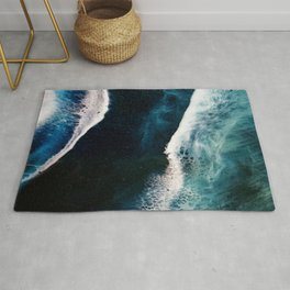Abstract Stormy Sea Rug