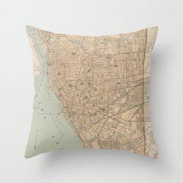 Vintage Map of Buffalo NY (1895) Throw Pillow