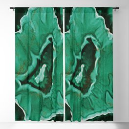 Malachite Marble With Gold Veins Blackout Curtain