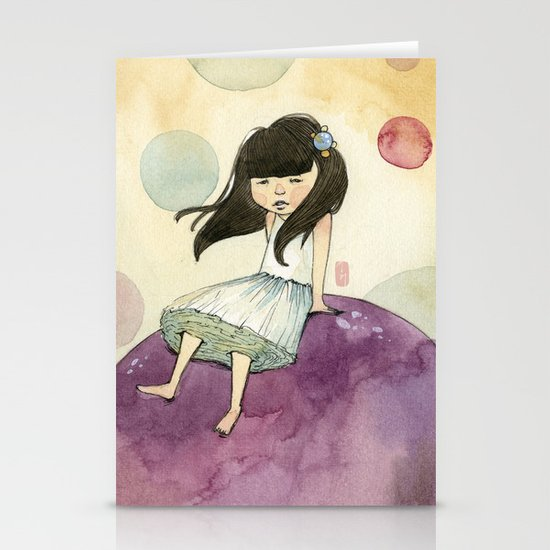 a bubble girl Stationery Cards