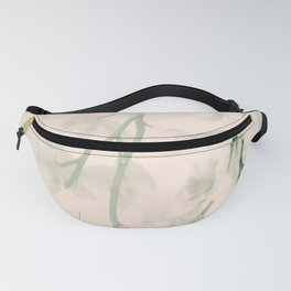 Flower branches on a pastel pink and green background - spring mood Fanny Pack