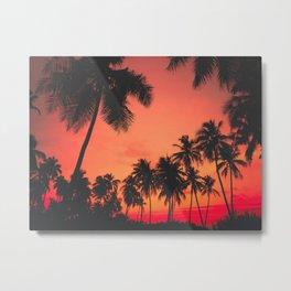 Tropical Palm Tree Sunset Metal Print