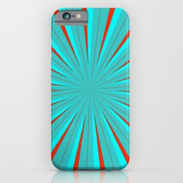 SPARKLE NEON AQUA TURQUOISE RED circle rays beams triangles Angelis iPhone Case