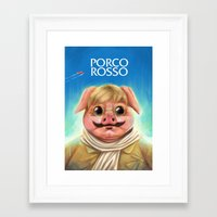 studio ghibli Framed Art Prints featuring Studio Ghibli - Porco Rosso by Laurence Andrew Page Illustrator
