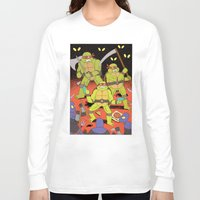 foo fighters Long Sleeve T-shirts featuring TURTLES FIGHTERS - REVENGE by Jack Teagle