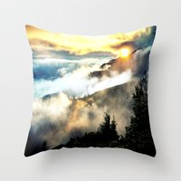 mountains Throw Pillows featuring Sunrise mountains by 2sweet4words Designs