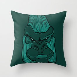 Gorilla - Arcadia Green Throw Pillow