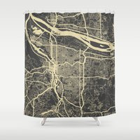 portland Shower Curtains featuring Portland Map by Map Map Maps