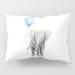 Baby Animal Elephant Watercolor Blue Balloon Baby Boy Nursery Room Decor Pillow Sham