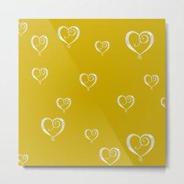 Polka Heart Party, Gold Metal Print