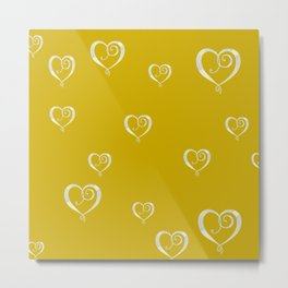 Polka Heart Party, Gold Metal Print