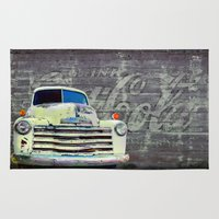 coca cola Area & Throw Rugs featuring Coca Cola Truck by KCG Photography