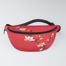 Watercolor Chickadees on a Flowering Magnolia Branch Fanny Pack