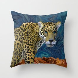 Leopard with the Sky in His Eyes Throw Pillow