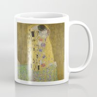 gustav klimt Mugs featuring The Kiss - Gustav Klimt by Elegant Chaos Gallery