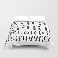 alphabet Duvet Covers featuring Alphabet by Art Goes Up