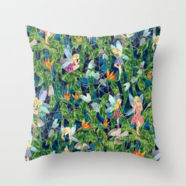 Emerald Fairy Forest Throw Pillow