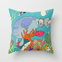 manatee Throw Pillows featuring Manatee by reefscenesbygina