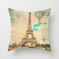 Vintage Eiffel Tower Paris Throw Pillow