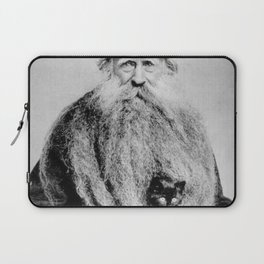 Kitten in the Beard of Old Man black and white photograph Laptop Sleeve