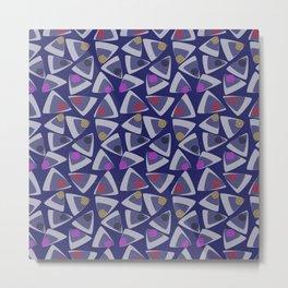 Triangles Play Navy Metal Print