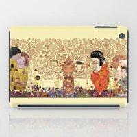 klimt iPad Cases featuring Kokeshis Klimt by Pendientera