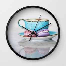 French macarons with tea Wall Clock