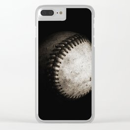 Battered Baseball in Black and White Clear iPhone Case