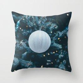 Christmas Photography - White Christmas Ball Throw Pillow