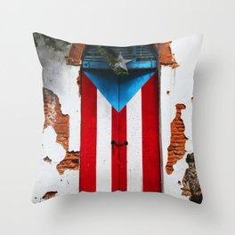PUERTO RICO FLAG DOOR Throw Pillow