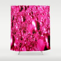 hot pink Shower Curtains featuring Hot Pink Ornaments by 2sweet4words Designs