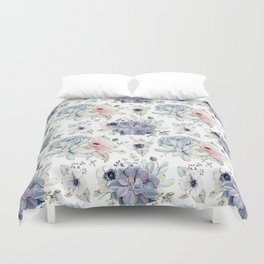 Succulents Blue + Rose Pink on White Duvet Cover